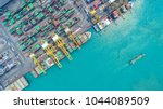 container ship in export and... | Shutterstock . vector #1044089509