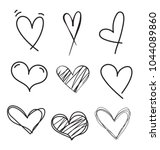 set of outline hand drawn heart ... | Shutterstock .eps vector #1044089860