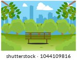 park bench with city view ... | Shutterstock .eps vector #1044109816