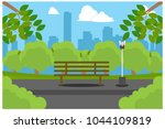 park bench with city view ... | Shutterstock .eps vector #1044109819