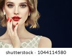 beautiful model girl with short ... | Shutterstock . vector #1044114580