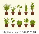 ten different plants in pots.... | Shutterstock .eps vector #1044116140