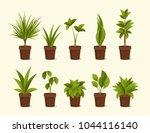 ten different plants in pots.... | Shutterstock .eps vector #1044116140