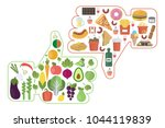healthy vs junk food like and... | Shutterstock .eps vector #1044119839