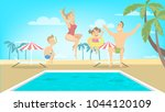 happy family jump in pool on... | Shutterstock .eps vector #1044120109