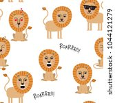 lion seamless pattern. animal... | Shutterstock .eps vector #1044121279
