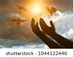 human hands open palm up worship | Shutterstock . vector #1044122440