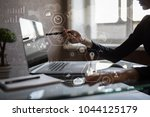 modern computer virtual screen. ... | Shutterstock . vector #1044125179