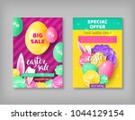 two easter sale invitations.... | Shutterstock .eps vector #1044129154