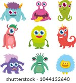 Stock vector funny cute little monster set 1044132640
