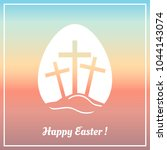 happy easter greeting card. | Shutterstock .eps vector #1044143074