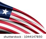liberia  flag of silk with... | Shutterstock . vector #1044147850