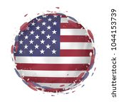 round grunge flag of usa with... | Shutterstock .eps vector #1044153739