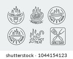 grill and barbecue logos set in ... | Shutterstock .eps vector #1044154123