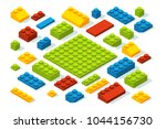 isometric constructor blocks at ... | Shutterstock .eps vector #1044156730
