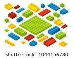 isometric constructor blocks at ...   Shutterstock .eps vector #1044156730