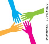 four hands reaching out...   Shutterstock .eps vector #1044159079