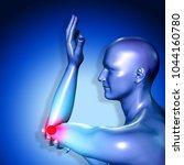 3d medical figure having pain... | Shutterstock . vector #1044160780