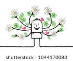 cartoon spring man with... | Shutterstock .eps vector #1044170083