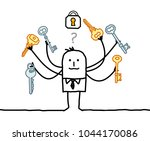cartoon man with multi keys and ... | Shutterstock .eps vector #1044170086