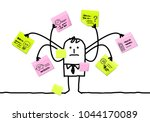 cartoon man multitasking with... | Shutterstock .eps vector #1044170089