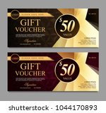 gift voucher with brown and... | Shutterstock .eps vector #1044170893