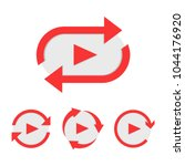 set of video play button like... | Shutterstock .eps vector #1044176920