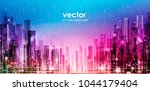 night cityscape with... | Shutterstock .eps vector #1044179404