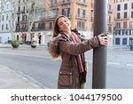 portrait of beautiful teenager... | Shutterstock . vector #1044179500