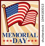 memorial day poster with usa...   Shutterstock .eps vector #1044183013