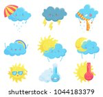 colorful weather forecast icons.... | Shutterstock .eps vector #1044183379