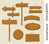 Set Of Wooden Signboards And...