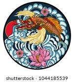 tattoo design koi dragon with...