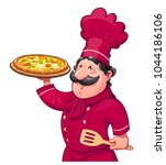 cook with pizza. traditional...   Shutterstock .eps vector #1044186106