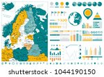 northern europe map and... | Shutterstock .eps vector #1044190150