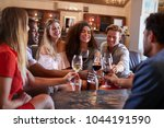 six young adults making a toast ... | Shutterstock . vector #1044191590