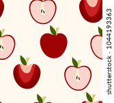 seamless apples pattern  vector ... | Shutterstock .eps vector #1044193363