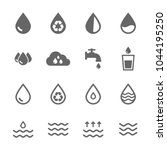 set vector water icons grey on... | Shutterstock .eps vector #1044195250