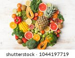 fruits and vegetables rich in... | Shutterstock . vector #1044197719