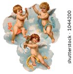A vintage illustration of three cherubs in the clouds (circa 1882) - stock photo