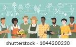 multiethnic team of farmers... | Shutterstock .eps vector #1044200230