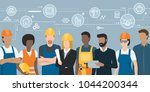 construction workers and... | Shutterstock .eps vector #1044200344