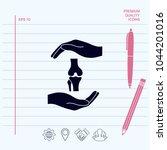 hands holding knee joint  ...   Shutterstock .eps vector #1044201016