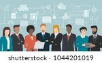 business people team sharing... | Shutterstock .eps vector #1044201019