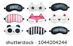 sleep masks set. classic black  ... | Shutterstock . vector #1044204244