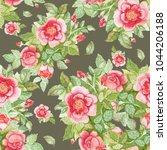 watercolor rose pattern | Shutterstock . vector #1044206188