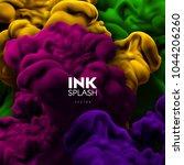 colorful ink splash swirling in ...   Shutterstock .eps vector #1044206260