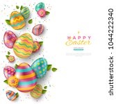 easter vertical border with... | Shutterstock .eps vector #1044222340