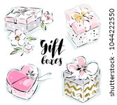 beautiful gift box isolated... | Shutterstock .eps vector #1044222550
