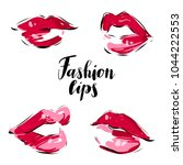 female beautiful sexy red lips... | Shutterstock .eps vector #1044222553